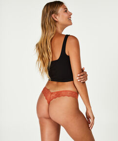 Lace Back usynlig g-streng, Brown