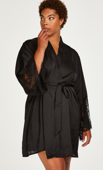 Lace Satin kimono, sort