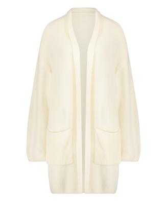 Premium Cardigan lang Fluffy, hvid