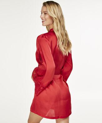Lace Satin kimono, rød