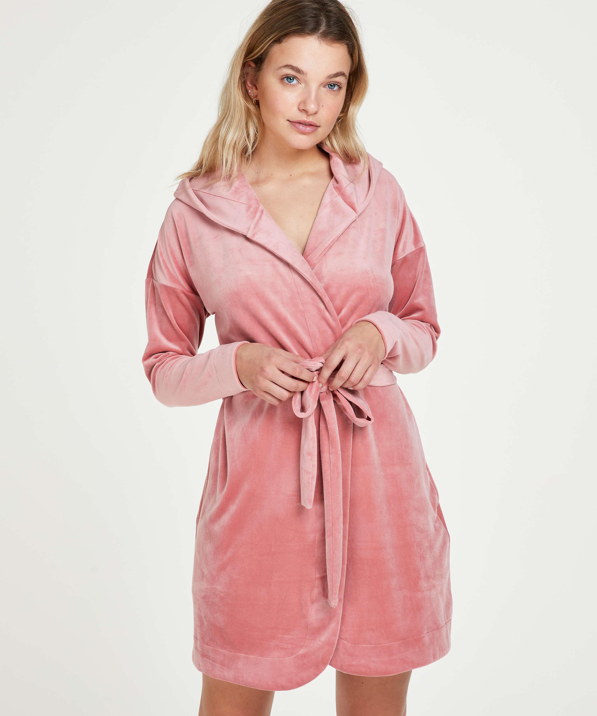 Kort badekåbe velour, pink, main