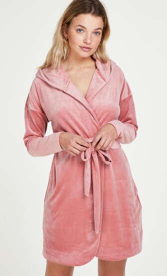 Kort badekåbe velour, pink