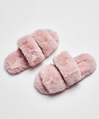 Fake Fur hjemmesko, pink