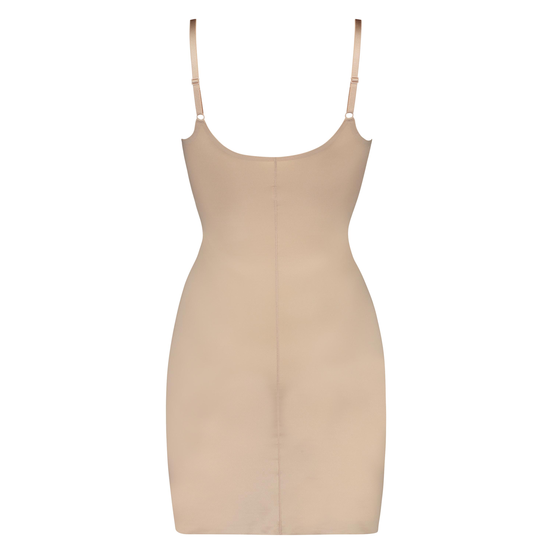 Opstrammende kjole i scuba-stof - Level 3, Beige, main
