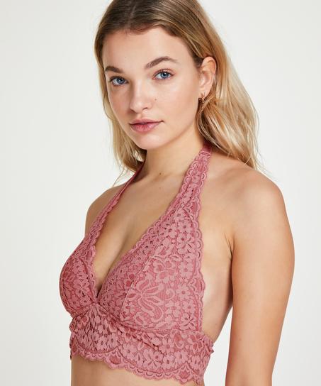 Rose bralette med halterneck, pink
