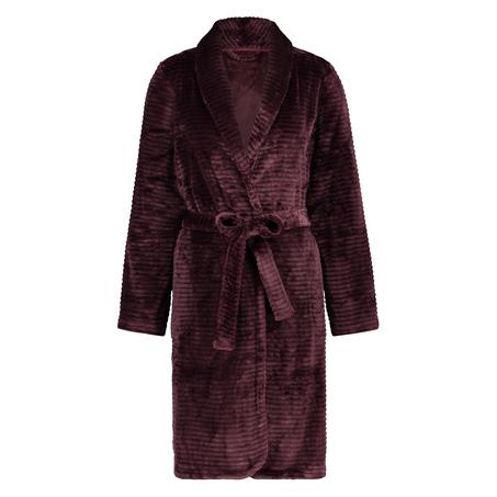 Kort ribstrikket badekåbe i fleece, rød