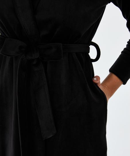 Velvet badekåbe, sort