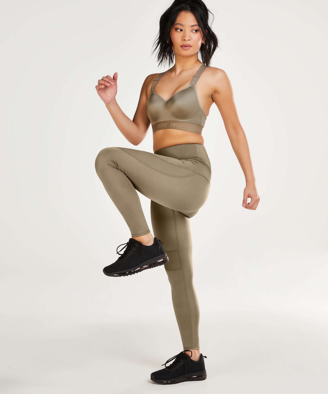 HKMX High Waisted Sport Legging Shine, grøn, main