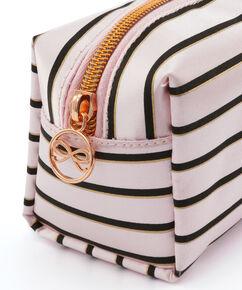 Stripe makeuptaske, pink