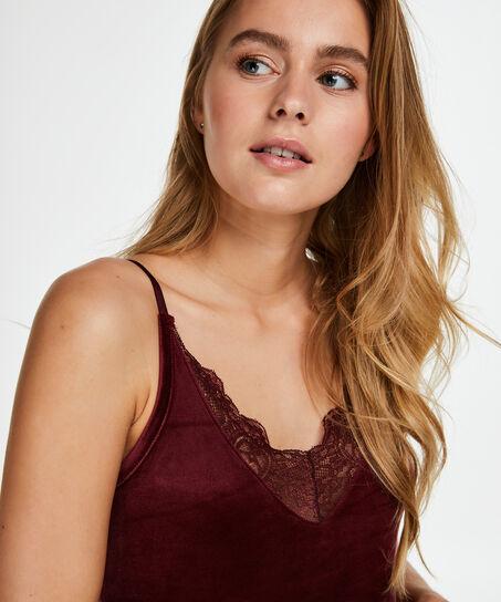 Velours Lace cami, rød