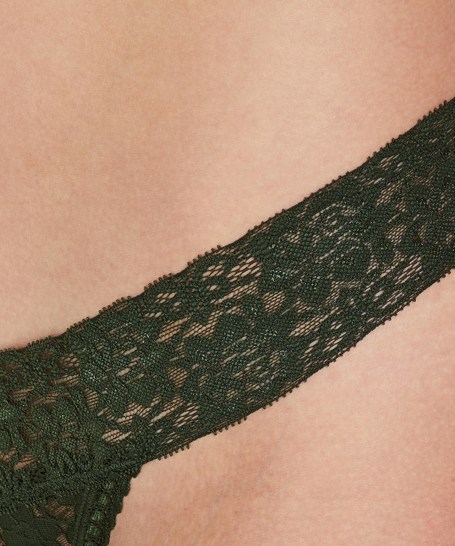 G-streng Floral lace, grøn, main