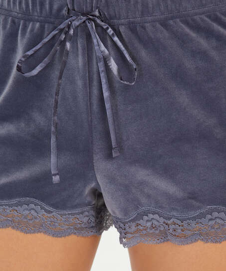 Shorts velour Lace, Grå