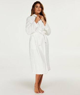 Fleece lang badekåbe, hvid