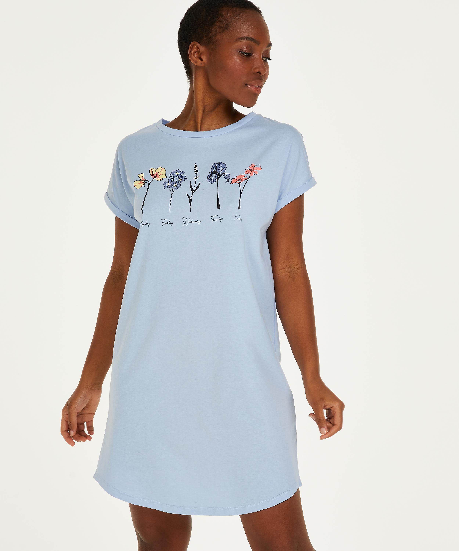 Nat-T-shirt med rund hals, blå, main