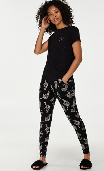 Loose fit pyjamasbukser, sort
