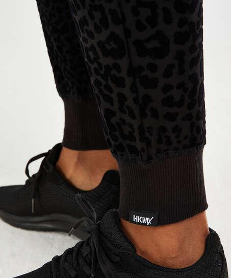 HKMX Joggingbukser Leopard, sort
