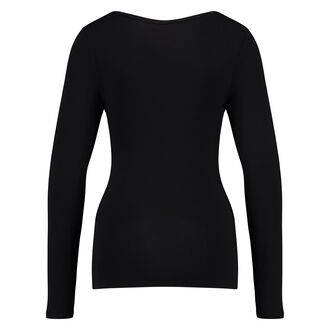 Langærmet bluse med V-hals, sort