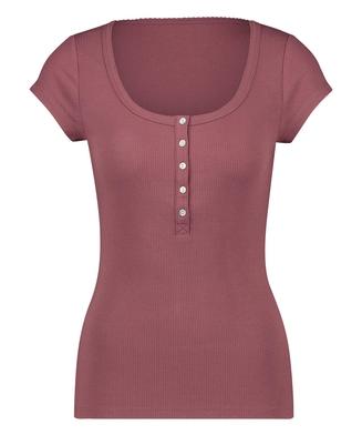 Pyjamastop med korte ærmer Henley, pink