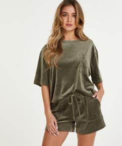 Fløjlsshorts med lomme, grøn