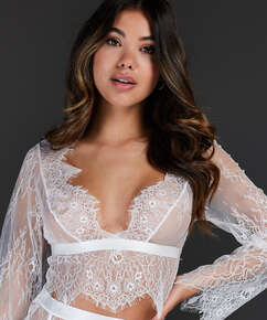 Top Allover Lace, hvid