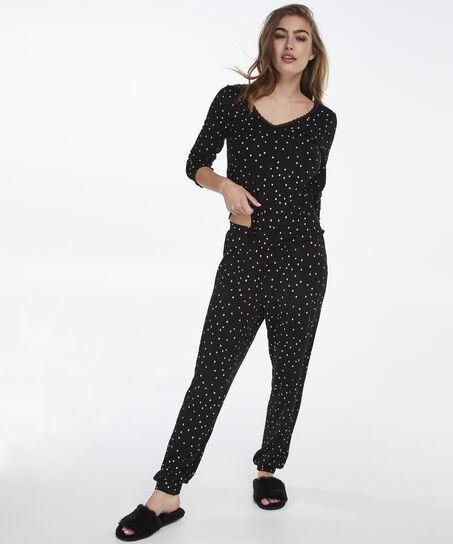 Langt pyjamassæt, sort