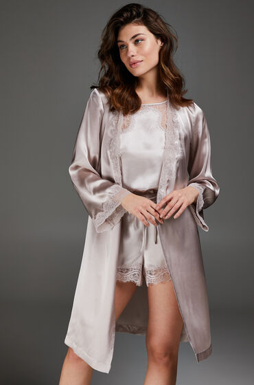 Hunkemöller Kimono med silkeblonder pink