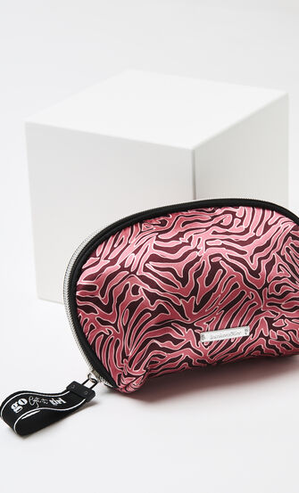 Makeup-taske satin Zebra, rød