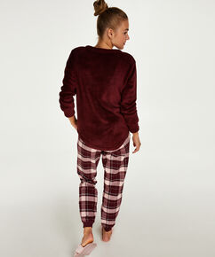 Fleece Long trøje, rød