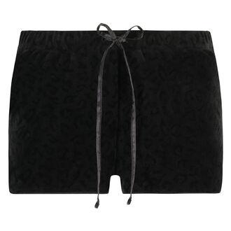 Velour shorts Leopard, sort