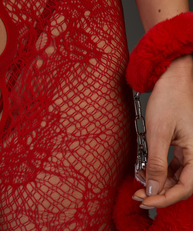 Private åben blonde catsuit, rød, main
