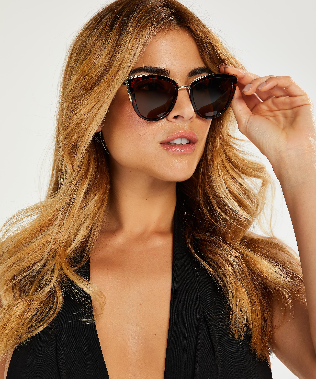 Cat Eye solbriller, Brown, main