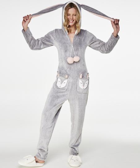 Fleece Novelty onesie-jumpsuit, Grå