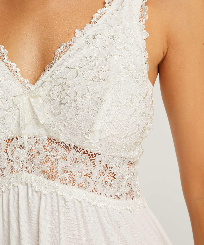 Modal Lace natkjole, hvid, main