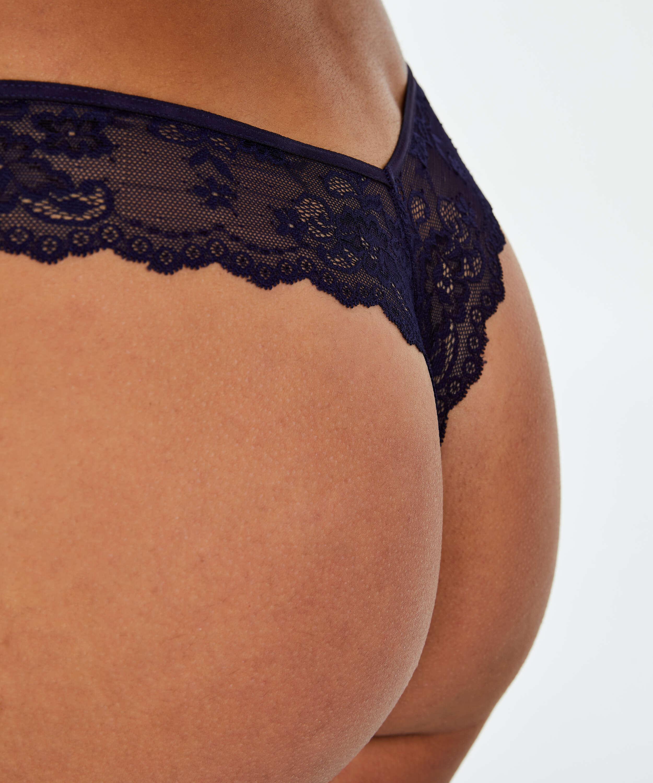 Lace Back usynlig g-streng, blå, main