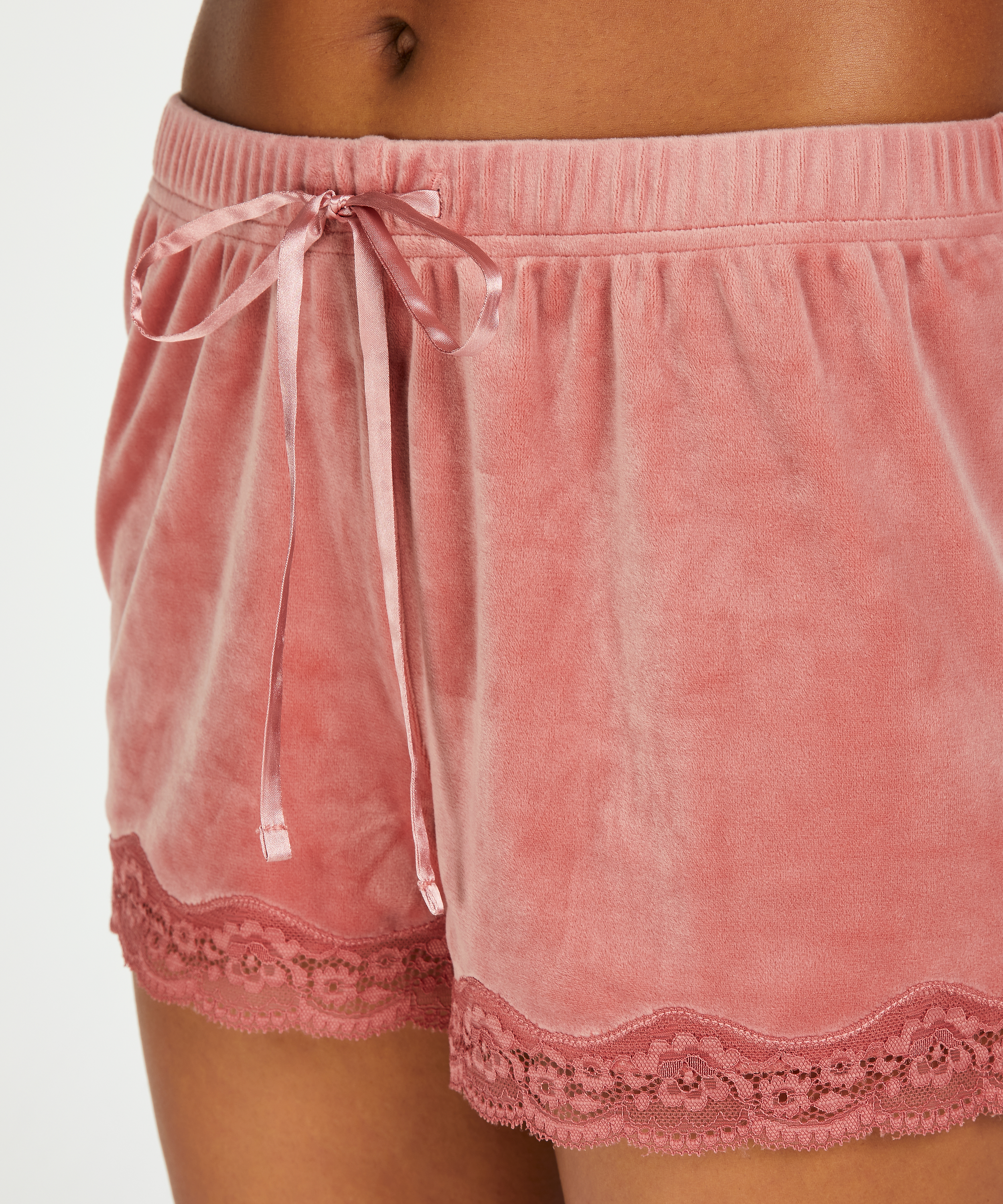 Shorts velour Lace, pink, main