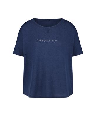 Pyjamastop korte ærmer Brushed Jersey, blå