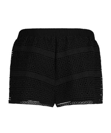 Hæklede shorts, sort