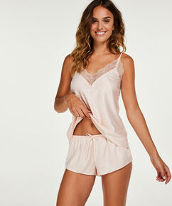 Pyjamas-shorts i satin, pink
