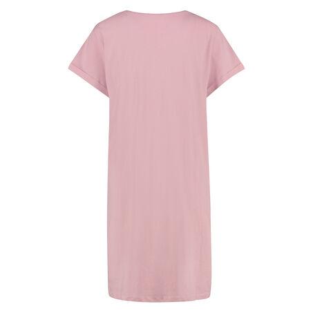 Nat-T-shirt med rund hals, pink