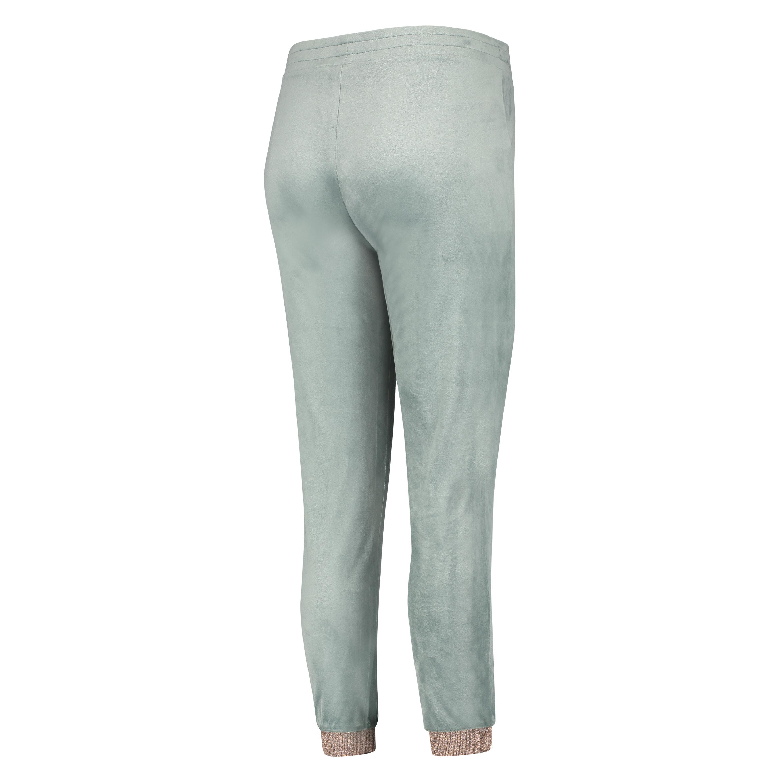 Lurex Joggingbukser i velour, grøn, main