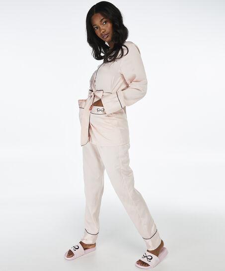 Satin pyjamastop, pink