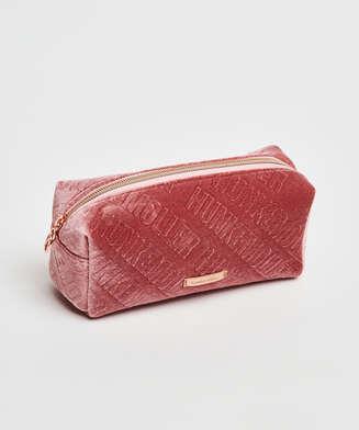 Velour makeuptaske, pink