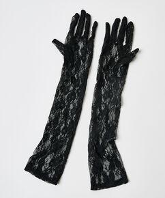 Private handsker med blonder, sort