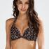 Leopard push-up bikinitop med fyld og bøjle, Beige