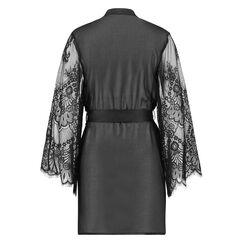 Chiffon Mesh Lace kimono, sort
