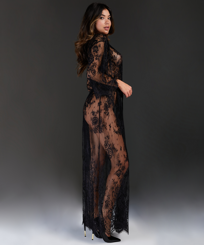 Allover Lace lang kimono, sort, main