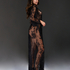 Allover Lace lang kimono, sort