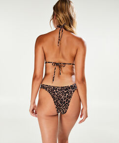 Leopard mini bikinitrusse, høj benskæring, Brown