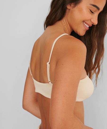 Bikini-croptop Struktur HKM x NA-KD, hvid