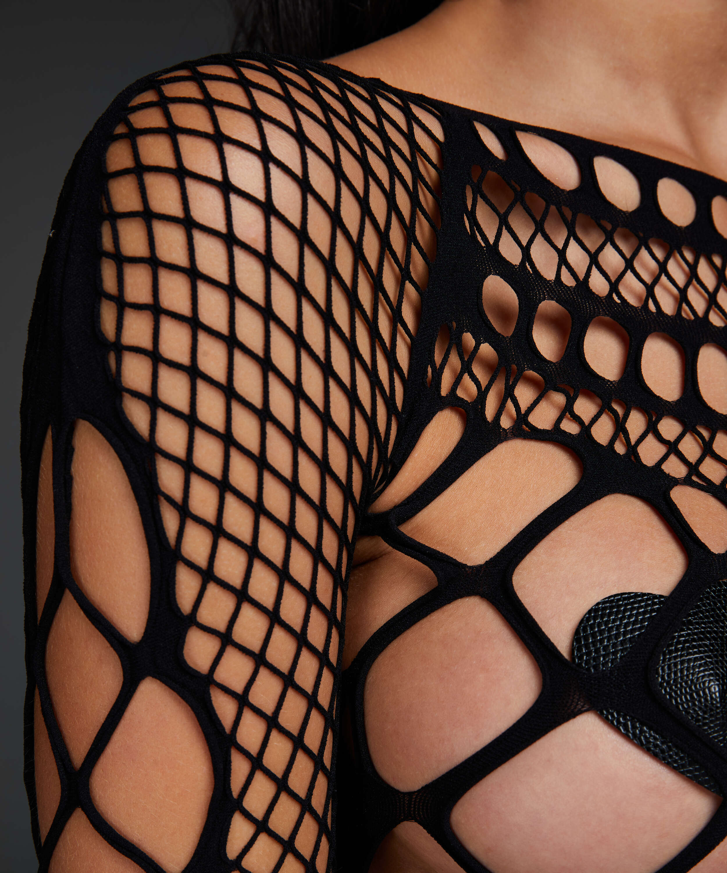 Private catsuit fishnet Chasity, sort, main